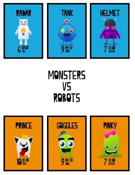 monsters vs robots, K-3 - number skills game