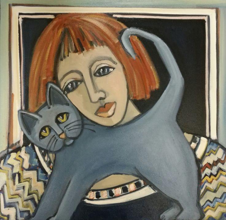 Cats,Russian Blue, @helenagerber.art