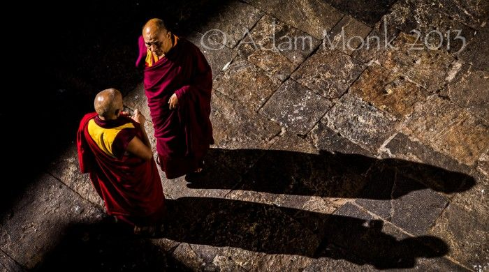 Monks of Punakha Dzong in Bhutan.