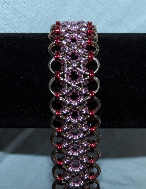 Flower Chainmaille Cuff Bracelet  Champagne/Red/Pink