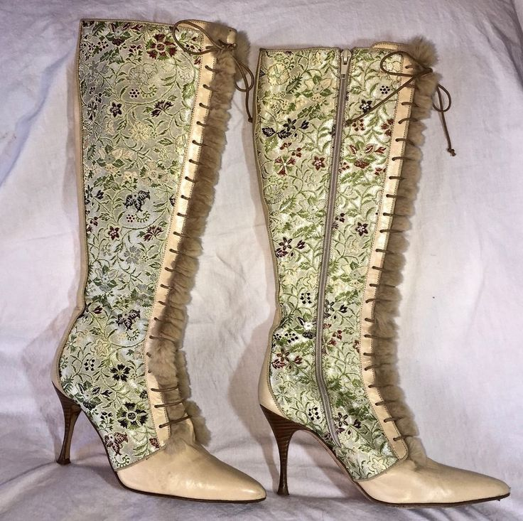 Cole Haan Boots Brocade Fur and Leather Lace Up Women's  size 6.5     AR0497 #ColeHaan #KneeHighBoots #SpecialOccasion