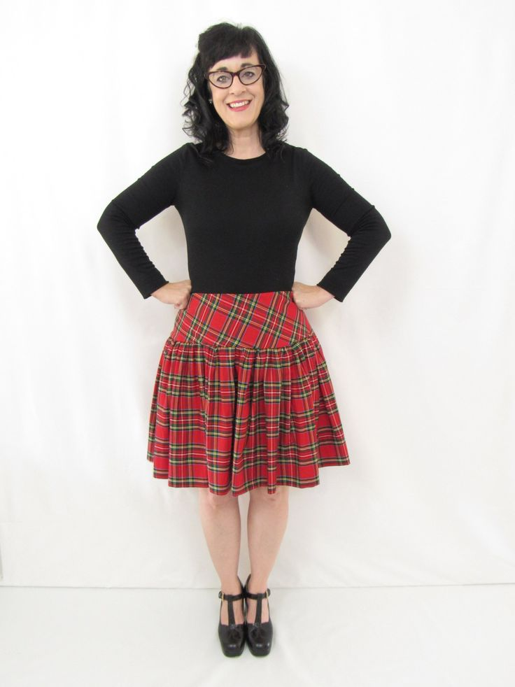 Red Stewart Tartan Madeline Skirt Christmas plaid skirt ballgown, midi and knee length