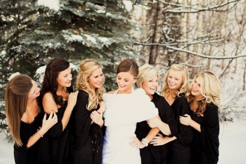 Winter Wedding FashionInspiration, Bridesmaid Hair, Wedding Ideas, Fur, Black Bridesmaid Dresses, Bridal Parties, Blue Bridesmaid Dresses, Wedding Bridesmaid, Winter Weddings