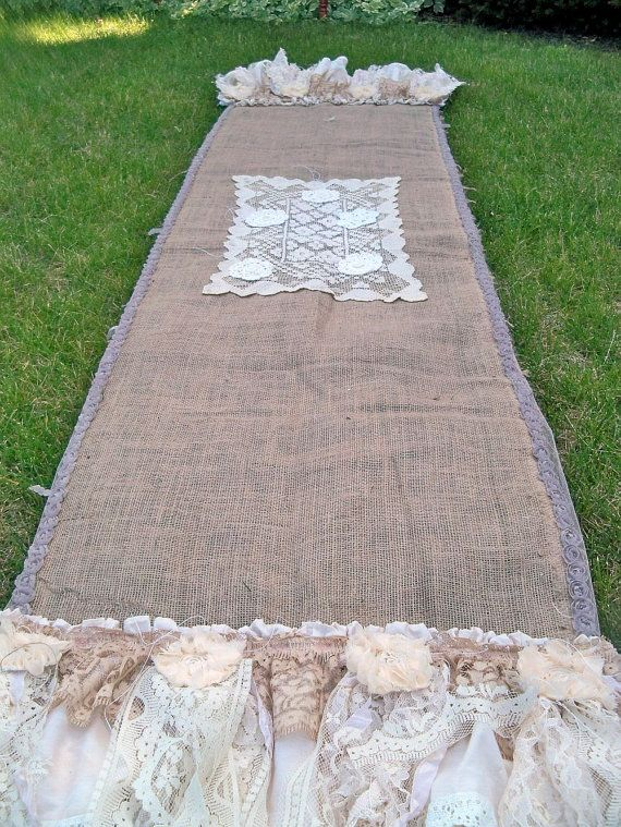Hand burlap runner up cycled lace OOAK by by AnitaSperoDesign, $100.00