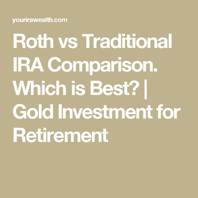 Roth vs Traditional IRA Comparison. Which is Best? | Gold Investment for Retirement