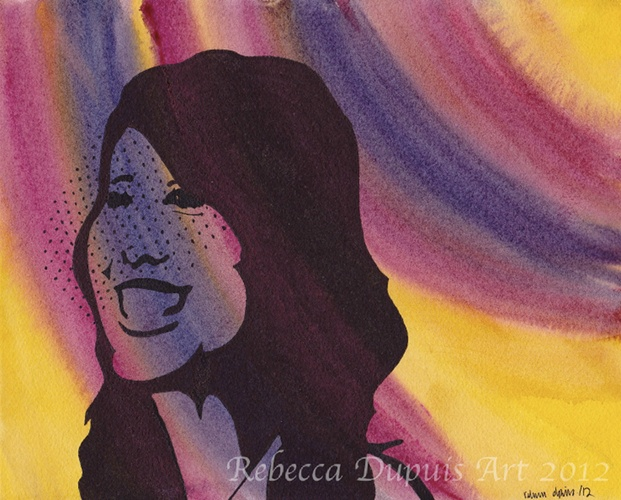"""""""Joyful"""" in Watercolor and Ink on Cotton Paper by Rebecca Dupuis.  Size 8.25"""" x10.25"""". If you have any questions or would like to purchase artwork, please contact me on Facebook at RebeccaDupuisArt."""
