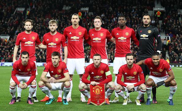 Manchester United team group Daley Blind Luke Shaw Zlatan Ibrahimovic Phil Jones Paul Pogba and Sergio Romero Henrikh Mkhitaryan Michael Carrick...