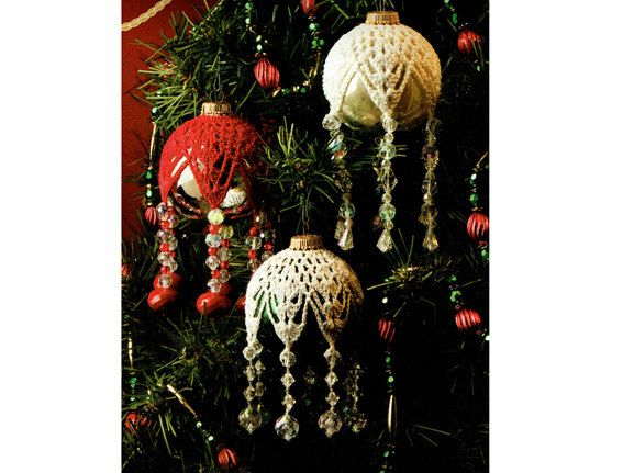 Last-Minute CHRISTMAS 'Victorian' Snowflake Beaded Baubles Crochet pattern PDF Traditional Upcycling Decoration