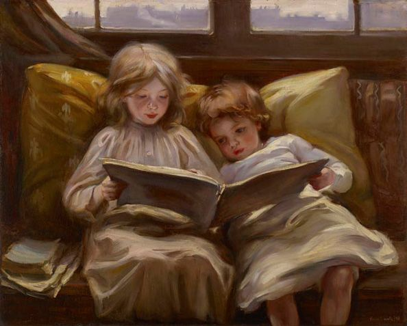 """""""Interesting Story"""" by Laura Muntz Lyall (1898) at the Art Gallery of Ontario, Toronto - Personally, I just think this painting is very cute: a young girl reading a story to her younger sibling."""