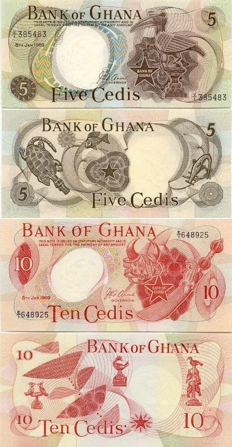 Ghana: 5 Cedis 8.1.1969 (fauna carvings); 10 Cedis 8.1.1969 (art products…