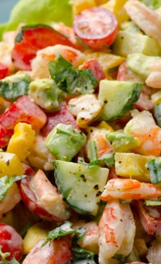 Greek Yogurt Shrimp, Avocado and Tomato Salad ~ Creamy shrimp salad with avocado, tomato, cucumber, bell pepper and scrumptious Greek yogurt dressing. You won't miss mayo for a second.