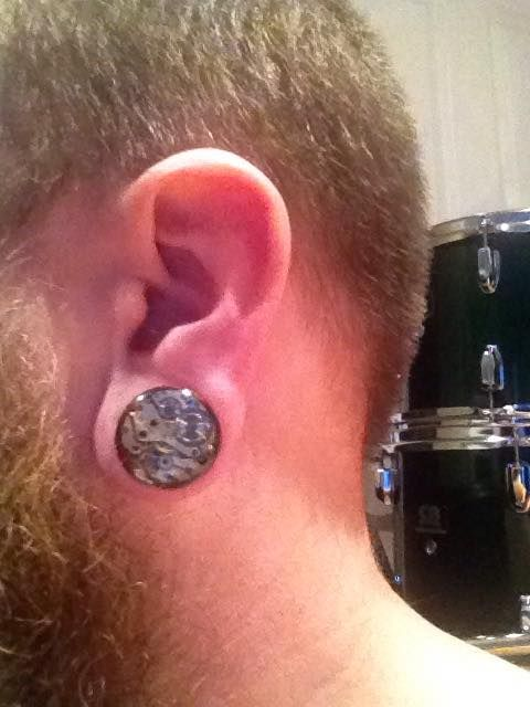 This mobile phone pic was sent in by Ben, I believe it's a 20mm steampunk plug.