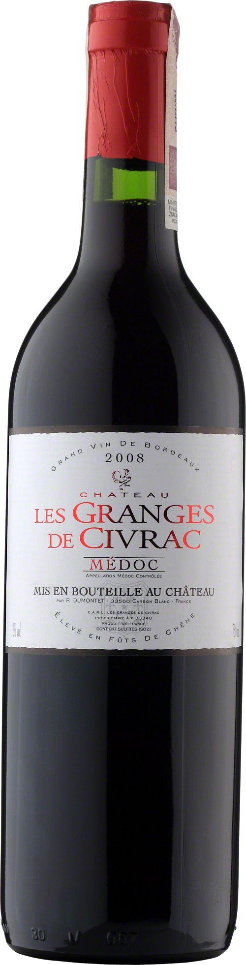 Chateau Les Granges de Civrac Medoc Dobrze zbudowane, ciemnorubinowe wino z aromatami czarnej porzeczki i czerwonych owoców. Przeiwjają się nuty korznenne i wyczuwalny aromat czekolady. Wino dobrze zbalansowane.  #Bordeaux #Wino #Winezja Chateau Les #Granges #Medoc