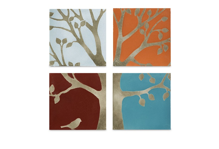 S/4 Meadow Terracotta Wall Tiles on One Kings Lane today: Wall Art, Terracotta Wall, Wall Decor, Living Rooms, Meadow Terracotta, Color, Trees Of Life, Trees Design, Wall Tile