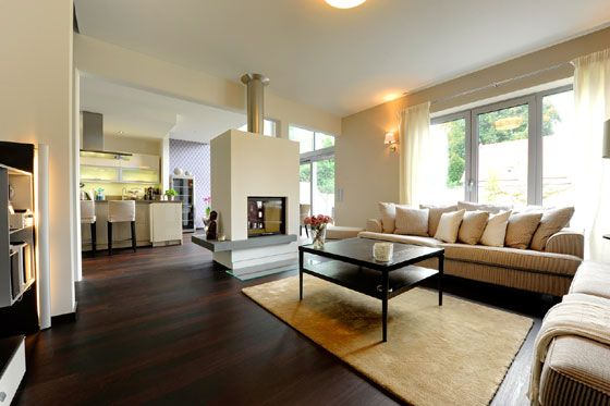 Dark wood floor living room decoration with the best design of furniture sets