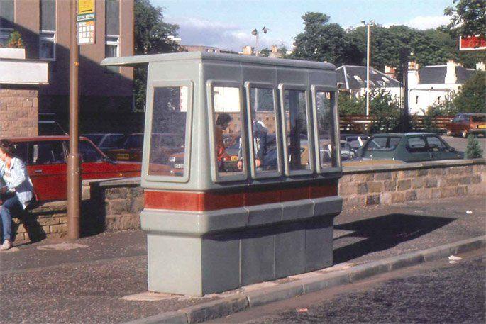 Fibreglass bus shelter in use at Barnton, Edinburgh in 1986. Picture: John Allison