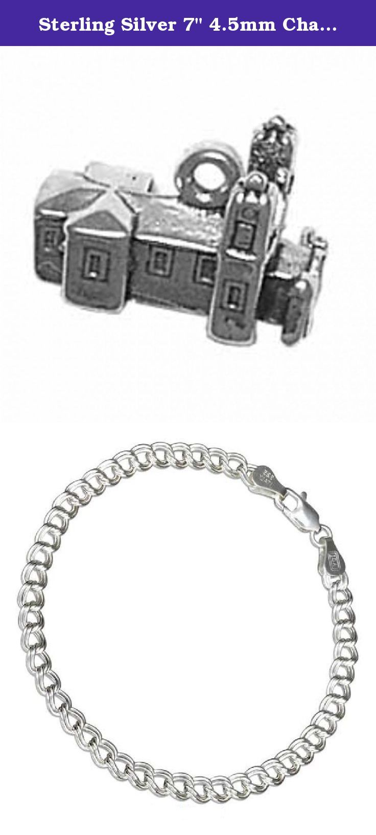 "Sterling Silver 7"" 4.5mm Charm Bracelet With Attached 3D San Felipe de Neri Catholic Church Religious Wedding Vacation Travel Tour Charm. Sterling Silver 7"" 4.5mm Italian Made Charm Bracelet With Attached 3D San Felipe de Neri Catholic Church Charm. Great Charm For Those Who Believes In Catholic Faith Or Who Has Ever Visited It On A Trip To Albuquerque, New Mexico. Material: .925 Sterling Silver Dimensions: 3D Hollow Bottom Charm Height: 4/8"" Length: 6/8"" Width (Thickness): 3/8"" Units…"