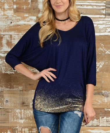 Love this Navy & Gold Glitter-Hem Dolman Top on #zulily! #zulilyfinds