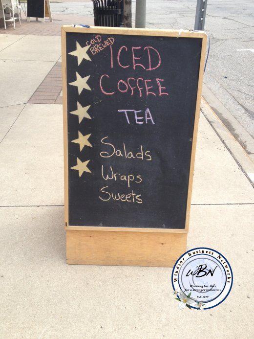 iced coffee, tea, salads, wraps