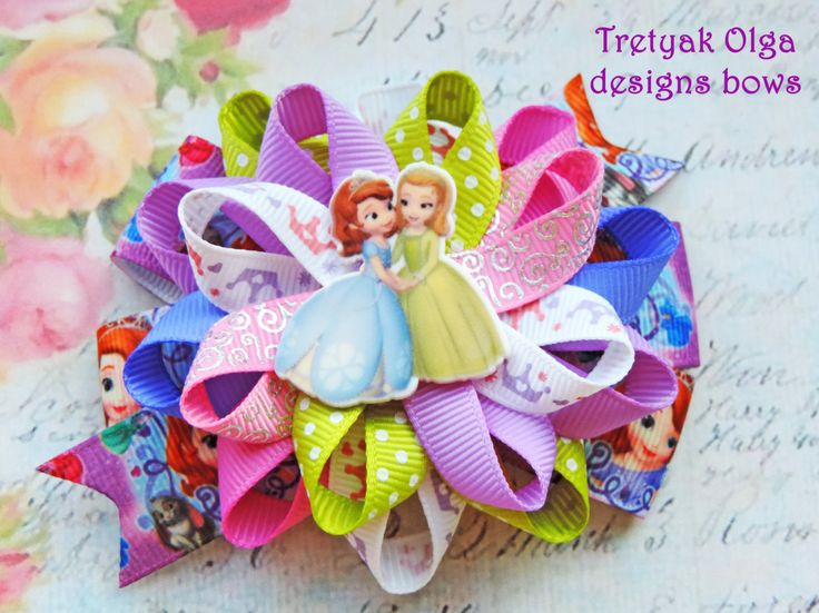 Princess Sofia the First loopy hair bow,girl Hair clippies, Sofia hair bows,Princess loopy Hair Bow,Disney Princess Bow by TretyakOlgaBows on Etsy