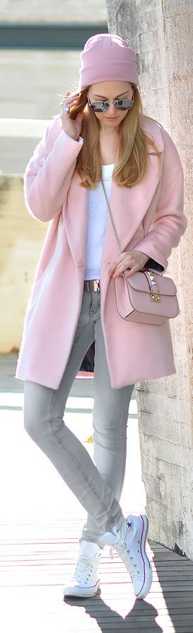 soft. baby. pink. coat. valentino. studded. cross over bag. golf. grey skinny jeans. chucks. Not sure about the hat....