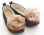 Brown Lace Rust Satin Girls Baby Shoes Slippers