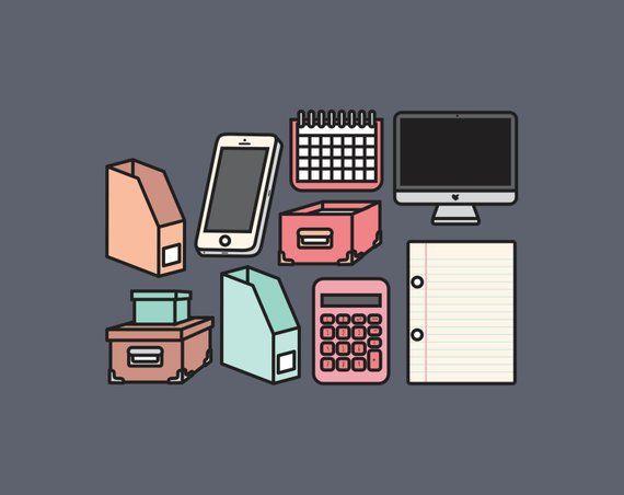 Premium Vector Clipart Kawaii Office Clipart Kawaii Work ...