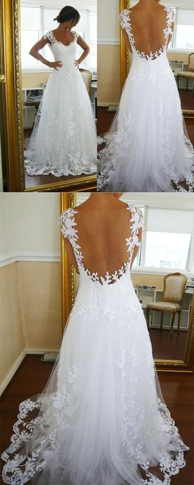 Charming White Open Back Long Wedding Dress with Appliques #Weddingdresses #Bridalgown