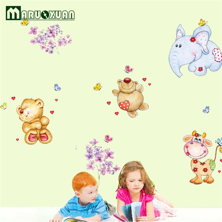 New Removable Large Size Vinyl Wall Stickers Teddy Bear Decor Cartoon Wall Decals For Baby Room #Affiliate