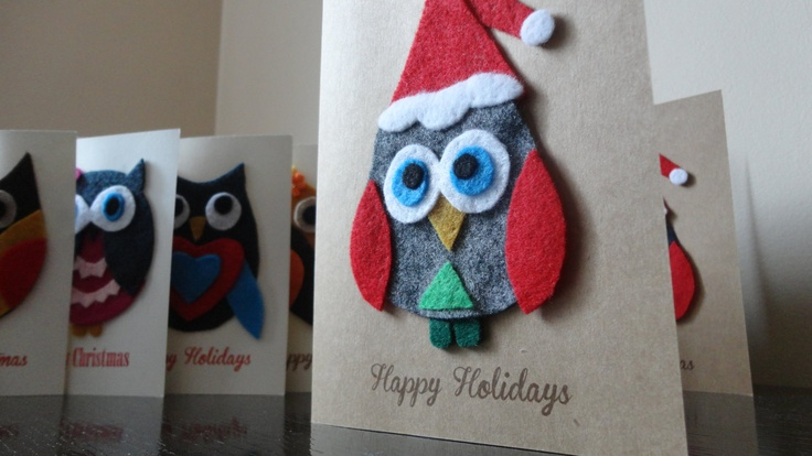 Handcrafted Felt Owl Christmas Holiday Card - Handmade Holiday Greeting Card. $8.00, via Etsy.