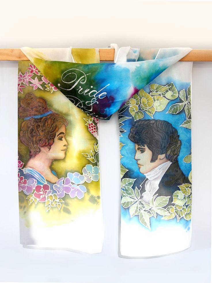 Pride and Prejudice silk scarf hand painted on Habotai Light 160 x 43 cm by Luiza Malinowska #minkulul Elizabeth Bennet and Mr. Darcy together!