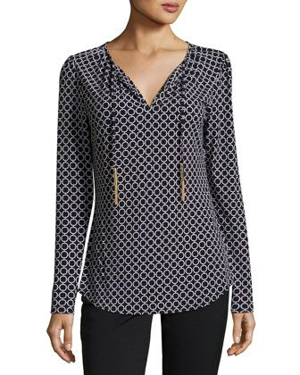 Shop Chain Link Tie-Neck Top, Black/White from MICHAEL Michael Kors at  Neiman Marcus Last Call, where you'll save as much as on designer fashions.