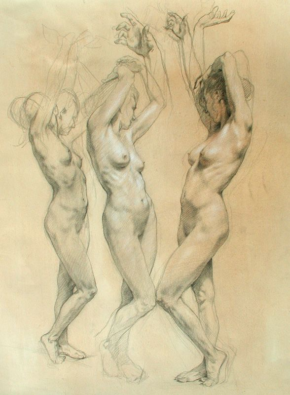 "Robert Liberace  Three Graces Chalk on paper -2007 38.1 x 55.88 cm (15"" x 22"")"
