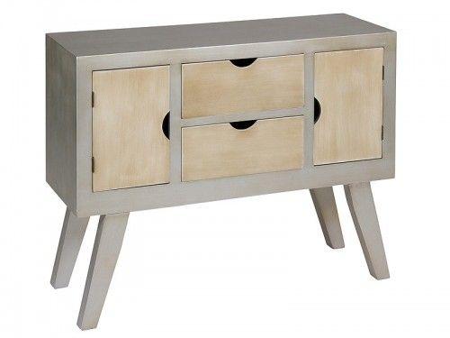 Aparador vintage de madera color plata y beige