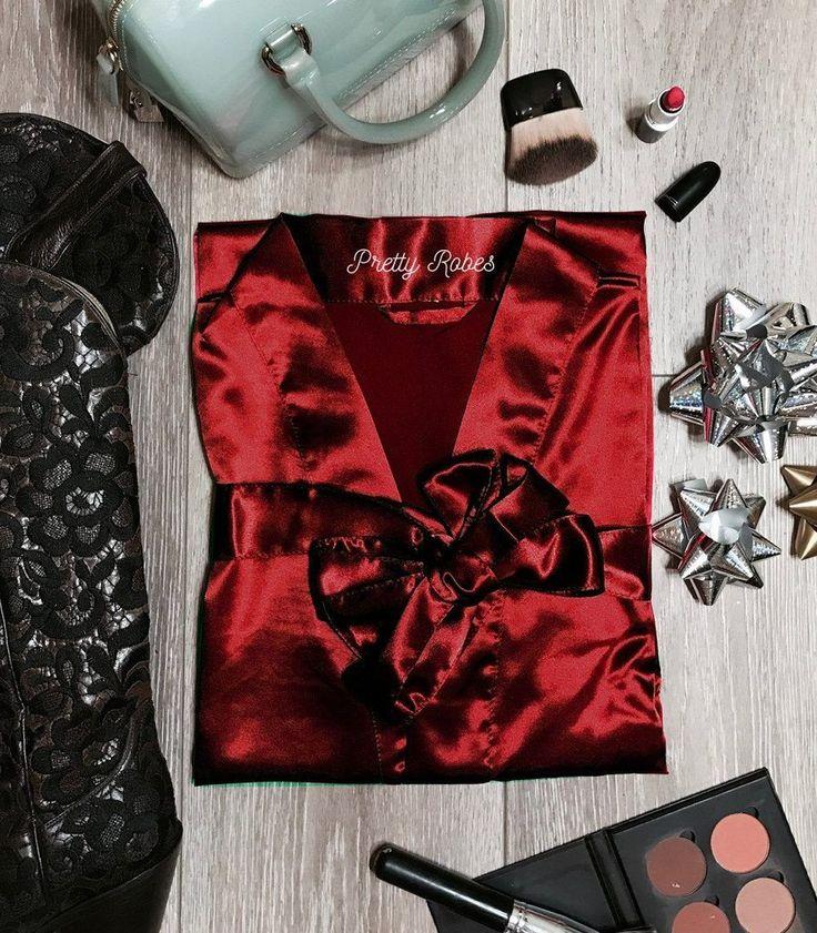 Crimson Satin Kimono Robe