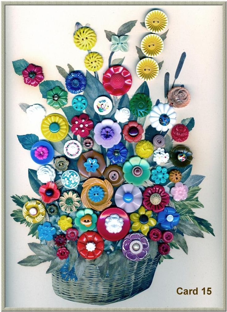 button floral card  by Paul Rice, button collector