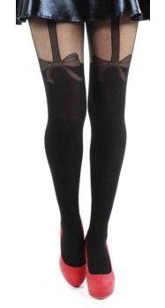 plus size net bow tights!collant effetto giarrettiera con fiocco di rete by Donatella's calze curvy