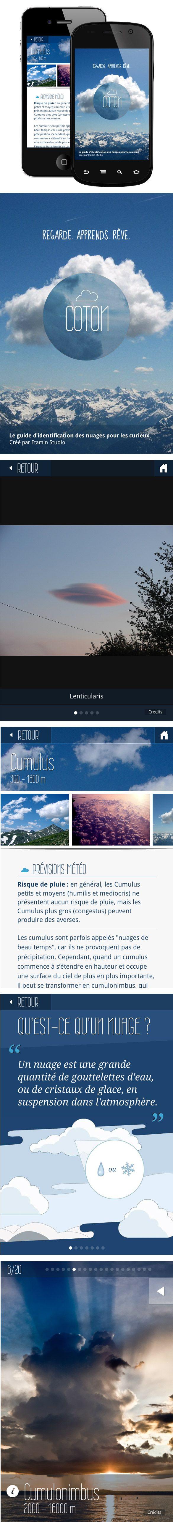 Cotton, una aplicación móvil para descubrir las nubes :)   – UI/UX