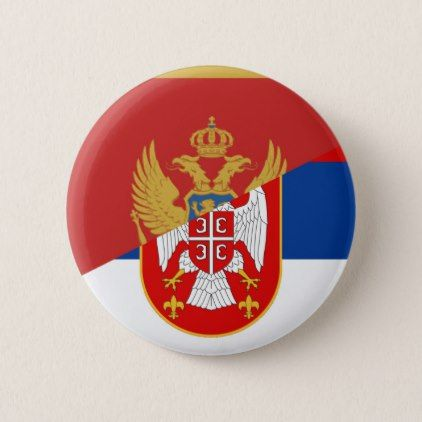 serbia montenegro flag country half symbol button - country gifts style diy gift ideas