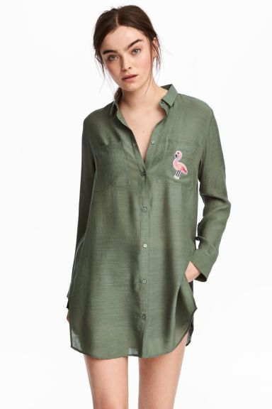 Рубашка с аппликацией - Хаки - Женщины | H&M RU