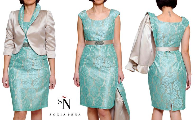 Sonia Peña beige and aqua green dress and jacket! Perfect mother of the bride outfit! SHOP ONLINE 20% OFF at www.rosapiuma.com! #motherofthebride   #motherofthegroom   #formalwear   #weddingoutfit   #lace   #soniapena   #elegantstyle