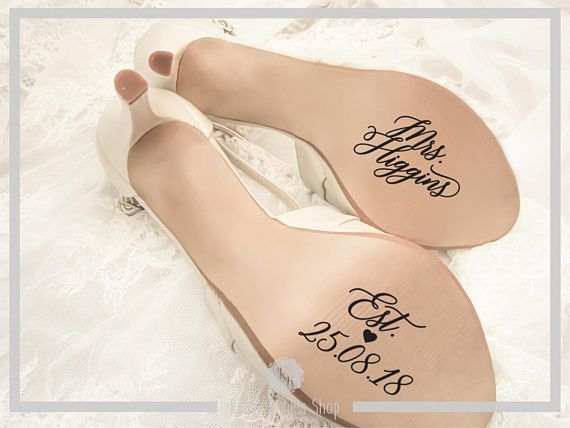 Check out this item in my Etsy shop https://www.etsy.com/uk/listing/552194716/custom-wedding-shoes-decal-name-and-date