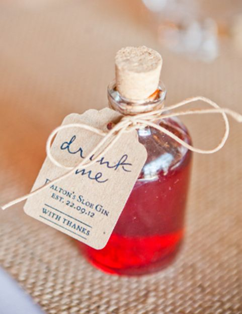 Wedding favour. Miniature drinks. Find more wedding favour ideas here http://raspberrywedding.com/category/raspberry-wedding/decoration/stationeryandfavours/