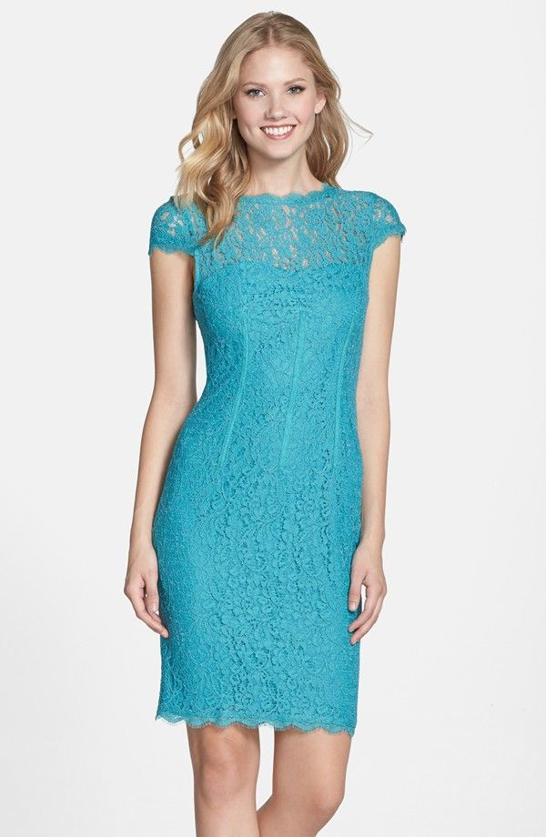 Seam Detail Lace Cocktail Dress