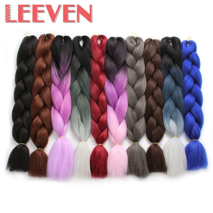 Leeven 24inch 100g Jumbo Braids Crochet Hair Bulk synthetic ombre braiding hair extention Black Pink Burgundy Kanekalon 1piece #Affiliate