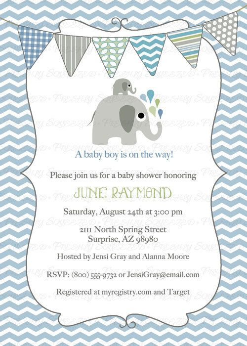 elephant baby boy shower invitation blue green bunting shower invit