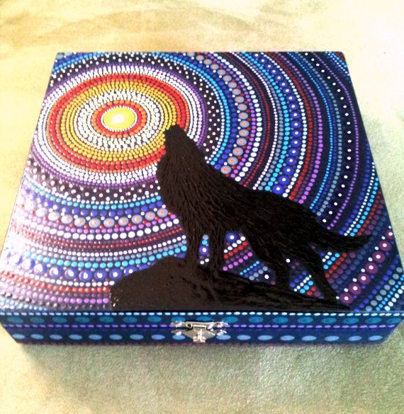 Hand painted wooden box  Wolf and Moon  keepsake  by DotsMania
