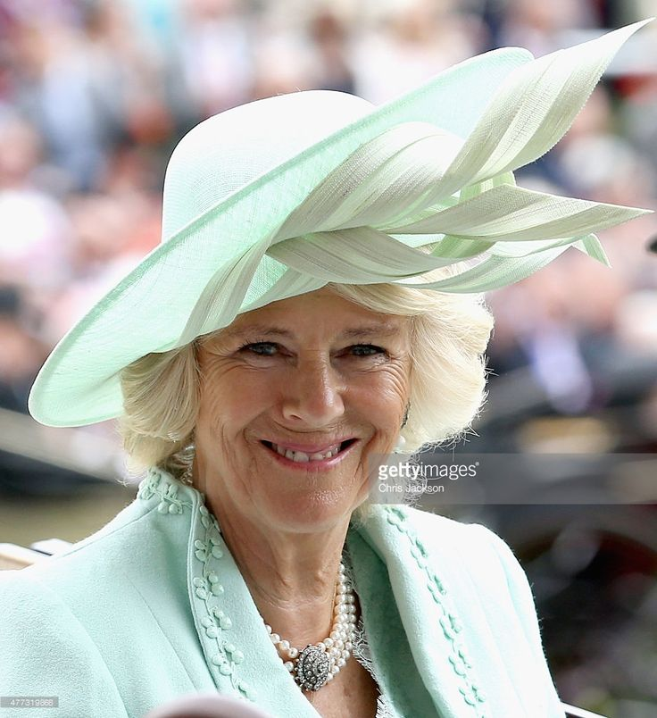 A new hat by Philip Treacy - Camilla, Duchess of Cornwall in the parade ring on day 1 of Royal Ascot at Ascot Racecourse on June 16, 2015 in Ascot, England.  (Photo by Chris Jackson/Getty Images)