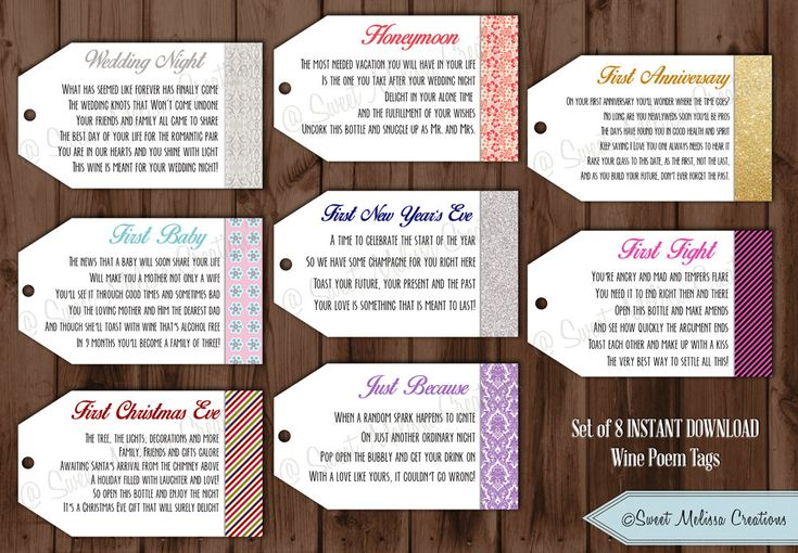 Instant Download : Wine Tags with Poems by SweetMelissaCreation