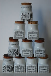 Vintage spice jars from Arabia Finland